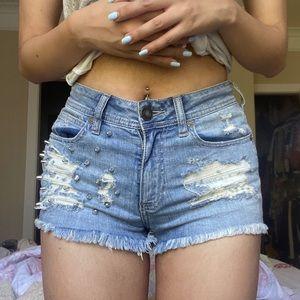 KENDAL + KYLIE Distressed Studded Denim Shorts